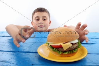 boy and burger