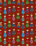 cartoon Chinese people seamless pattern