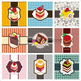 9 cartoon cake card set