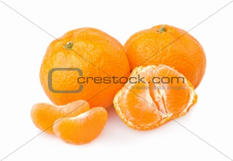 Ripe tangerines with slices