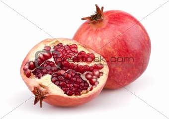 Juicy pomegranate and half