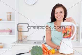 Charming woman using a blender