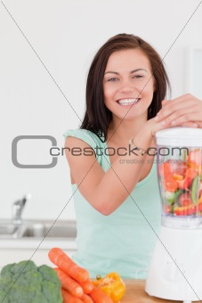 Charming dark haired woman posing with a blender