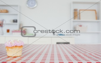 A cupcake on a tablecloth