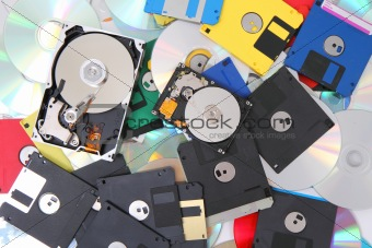 hard drive, floppy disc, and cd-rom
