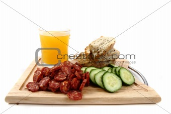 bread, vegetable and sausage