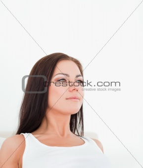 Close up of a brunette posing