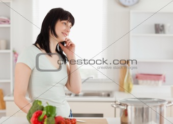 Attractive brunette woman on the phone while standing