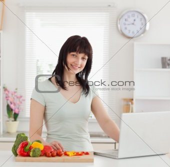 Beautiful brunette woman relaxing with her laptop while standing