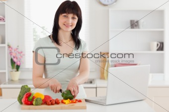 Smiling brunette woman cooking while relaxing with her laptop