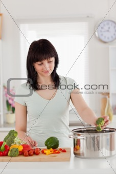 Beautiful brunette woman cooking vegetables