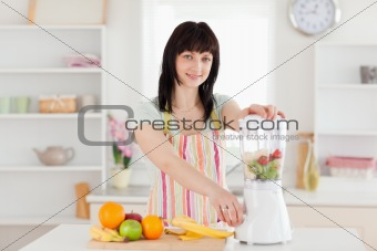 Attractive brunette woman using a mixer while standing