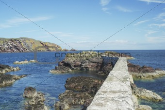 harbour wall and cliffs at St. Abbs, Berwickshire
