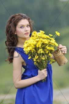 beautiful woman on field