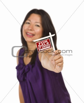 Attractive Multiethnic Woman Holding Small For Sale By Owner Real Estate Sign in Hand Isolated on White Background.