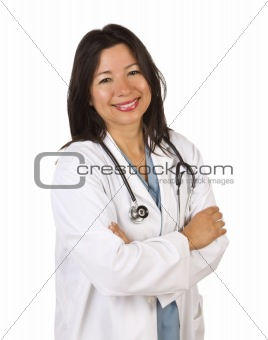 Attractive Hispanic Doctor or Nurse Isolated on a White Background.