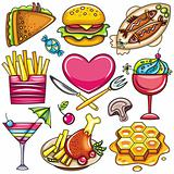 Set of ready-to-eat food icons part 1