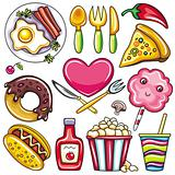 Set of ready-to-eat food icons part 2