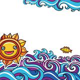 Sun and waves vacation background 4
