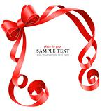 greeting card template with red ribbon and bow