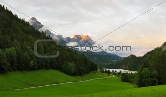 Alpine landscape in the evening