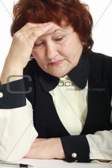Mature woman with headache