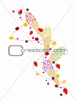 Ice cream,  berries and fruits