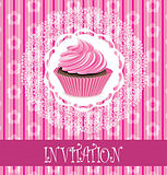 vector retro card with pink cupcake