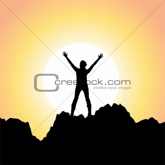 vector silhouette of a girl with raised hands