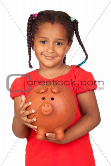 African little girl with a big piggy-bank