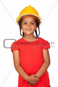 African little girl with a yellow helmet