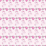 Pink heart seamless pattern vector texture.