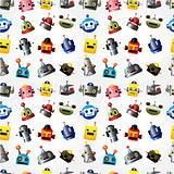cartoon robot face seamless pattern