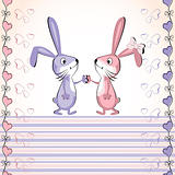 Valentine&#39;s heart card. Baby rabbit.