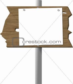 Blank sign on a cedar plank
