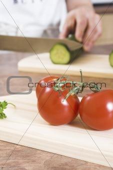 cutting cucumber