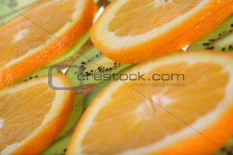 Background kiwi and oranges