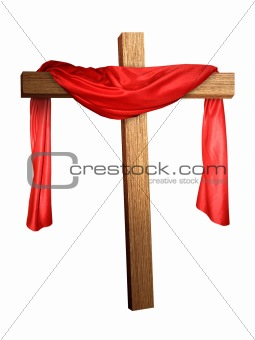 Cross Draped in Red