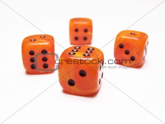 bright orange dice