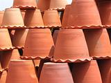 Clay flower pots upside down