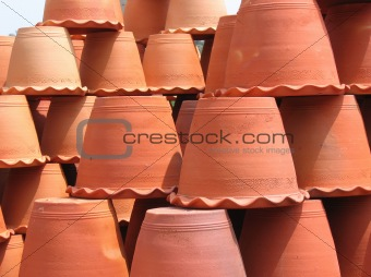 Clay flower pots upside down