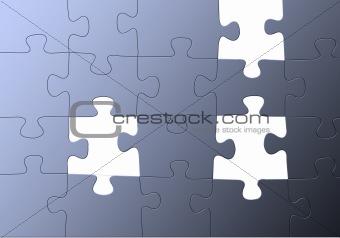 blue puzzle, missing parts