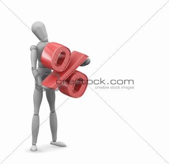 Man holding percentage sign