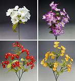 Four colorful bouquet of fabric flowers