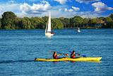 Kayaking on a lake