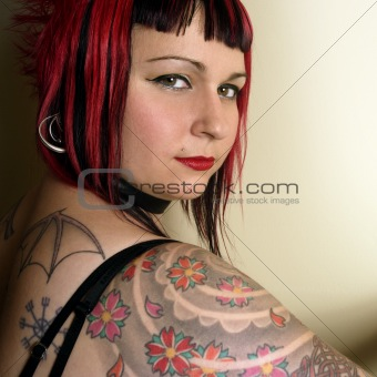 Beautiful tattoo goth girl