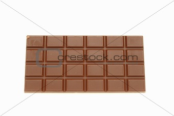 Tile of tasty chocolate on a white background