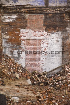 Bricked Doorway Surrounded by Rubble