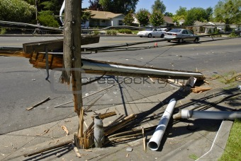 Smashed Power Pole