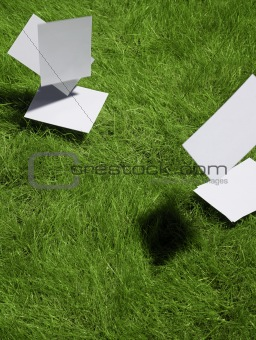 blank cards falling on lawn